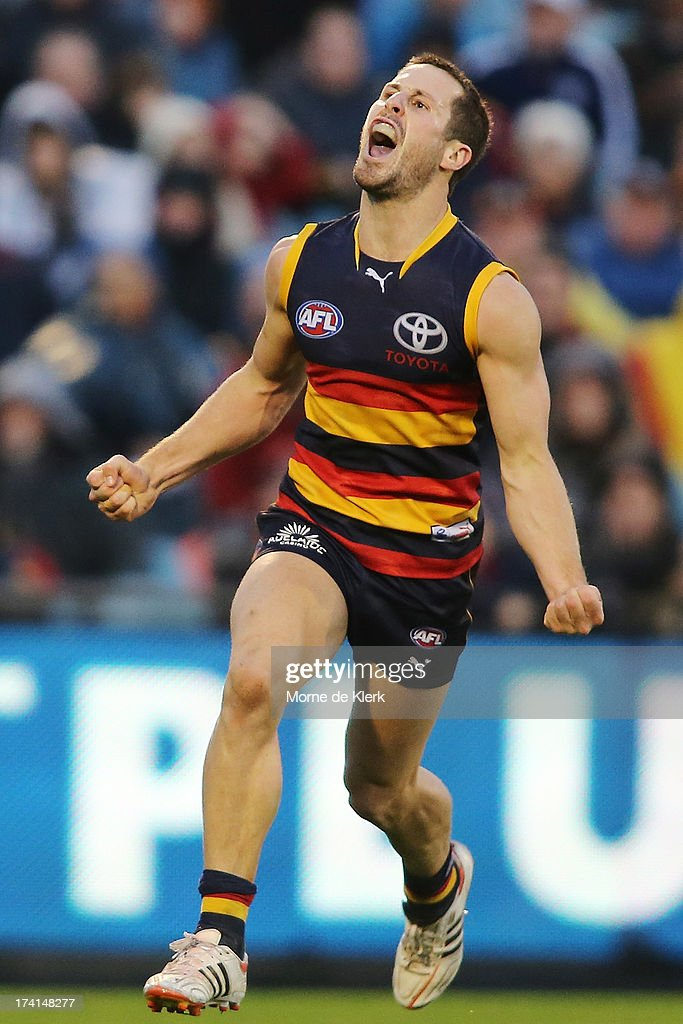 Matthew Wright of the Crows celebrates after kicking a late goal during the round 17 AFL match between the Adelaide Crows and the Geelong Cats at AAMI Stadium on July 21, 2013 in Adelaide, Australia.