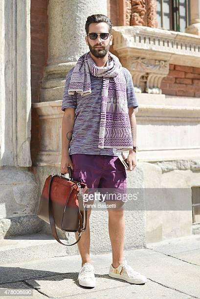 Matthew Zorpas poses wearing Missoni on June 21 2015 in Milan Italy