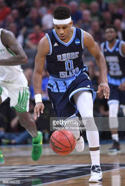 C Matthews of the Rhode Island Rams handles the ball on offense against the Oregon Ducks during the second round of the 2017 NCAA Men's Basketball...