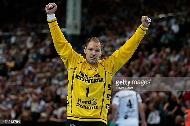 Matthias Andersson of Flensburg celebrate during the DKB HBL Bundesliga match between THW Kiel and SG FlensburgHandewitt on August 26 2014 in Kiel...