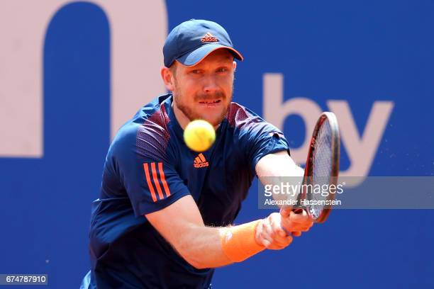 Matthias Bachinger of Germany during his qualification match against Jerzy Janowicz of Poland for the 102 BMW Open by FWU at Iphitos tennis club on...