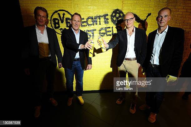 Matthias Baeumer director Puma Germany Hans Joachim Watzke CEO of Borussia Dortmund Franz Koch CEO of Puma and Carsten Cramer marketing director...