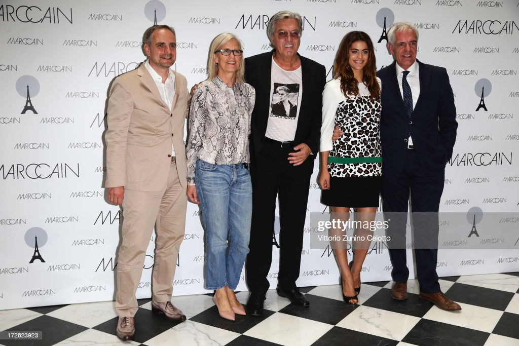 Matthias Behr, Karin Veit, Helmut Schlotterer, Alyson Le Borges and Norbert Lock attend the Marc Cain Photocall during the Mercedes-Benz Fashion Week Spring/Summer 2014 at the Hotel Adlon on July 4, 2013 in Berlin, Germany.