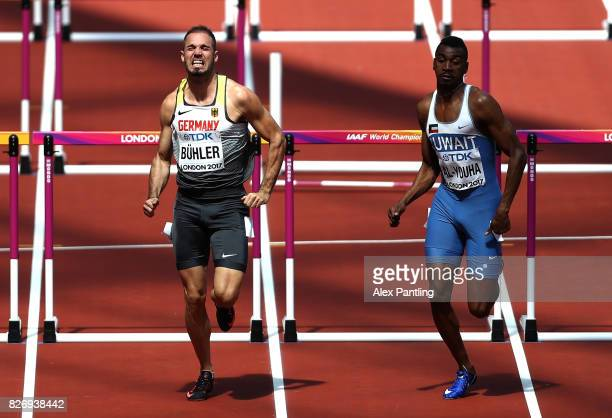 Matthias Buhler of Germany and Yaqoub Mohamed AlYouha of Kuwait competes in the Men's 110 metres hurdles during day three of the 16th IAAF World...