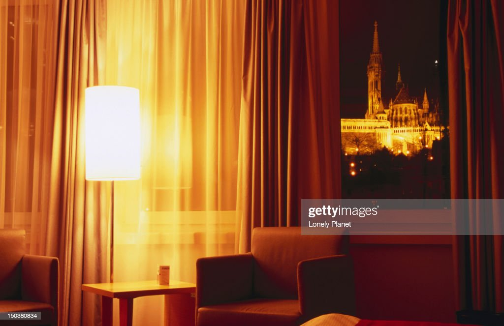 Matthias Church at Castle Hill from room at Art'otel Budapest. : Stock Photo