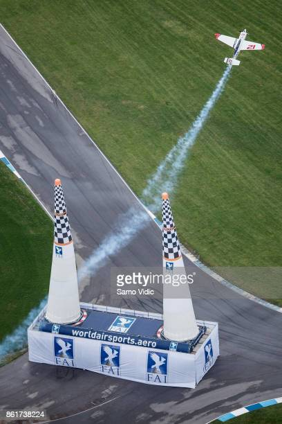 Matthias Dolderer of Germany competes during the final stage at Red Bull Air Race World Championship at Indianapolis Motor Speedway on October 15...