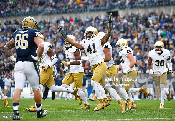 Matthias Farley of the Notre Dame Fighting Irish reacts after catching an interception on the 1yard line in the second quarter against the Pittsburgh...