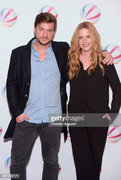 Matthias Faust and Diana Amft attend 'SAT1 Fiction Event 2013' photocall at Stage Theatre on November 21 2013 in Hamburg Germany