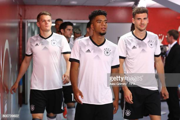 Matthias Ginter Benjamin Henrichs and Leon Goretzka of Germany walk out for the warm up prior to the FIFA Confederations Cup Russia 2017 Group B...