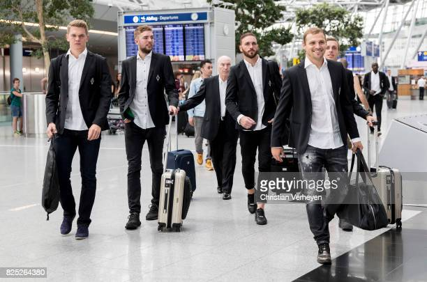 Matthias Ginter Christoph Kramer Tobias Sippel Patrick Herrmann and Tony Jantschke departs to Vatican City at Airport Duesseldorf on August 01 2017...