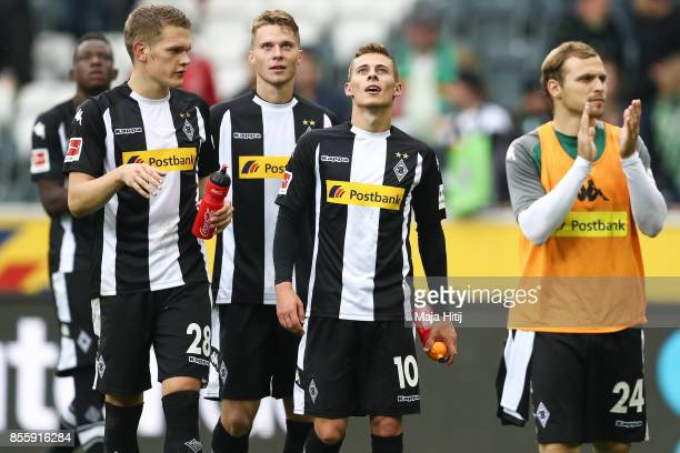 Matthias Ginter Nico Elvedi Thorgan Hazard and Tony Jantschke Moenchengladbach celebrate after the Bundesliga match between Borussia Moenchengladbach...