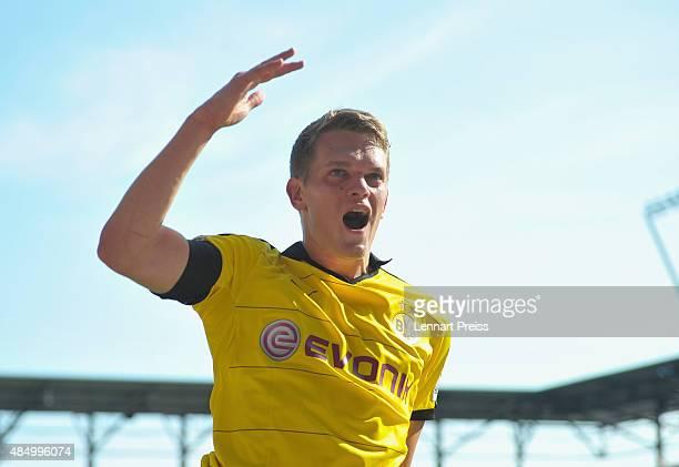 Matthias Ginter of Borussia Dortmund celebrates scoring the opening goal during the Bundesliga match between FC Ingolstadt and Borussia Dortmund at...