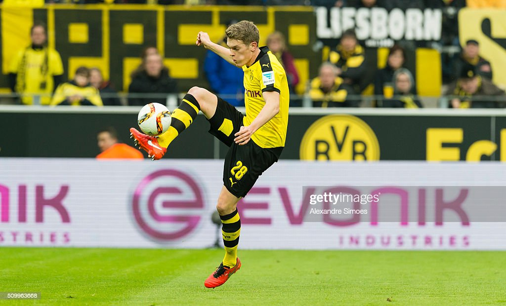 Matthias Ginter of Borussia Dortmund in action during the Bundesliga match between Borussia Dortmund and Hannover 96 at Signal Iduna Park on February 13, 2016 in Dortmund, Germany.