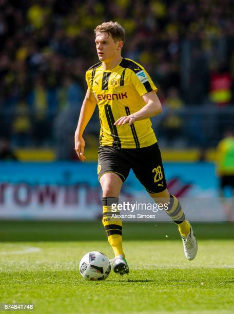Matthias Ginter of Borussia Dortmund in action during the Bundesliga match between Borussia Dortmund and FC Koeln at Signal Iduna Park on April 29...
