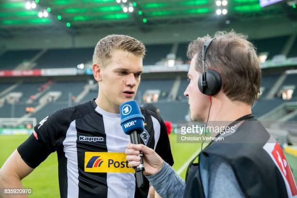 Matthias Ginter of Borussia Moenchengladbach speaks to the media after the Bundesliga match between Borussia Moenchengladbach and 1 FC Koeln at...