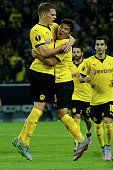 Matthias Ginter of Dortmund celebrates with team mate Joo Ho Park after scoring his team's first goal during the UEFA Europa League Group C match...