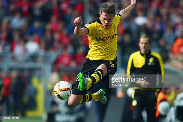 Matthias Ginter of Dortmund controles the ball during the Bundesliga match between Borussia Dortmund and Bayer Leverkusen at Signal Iduna Park on...