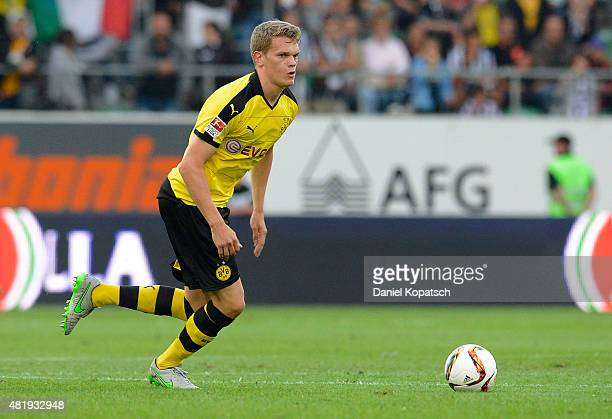 Matthias Ginter of Dortmund controls the ball during the friendly match between Juventus and Borussia Dortmund on July 25 2015 in St Gallen...