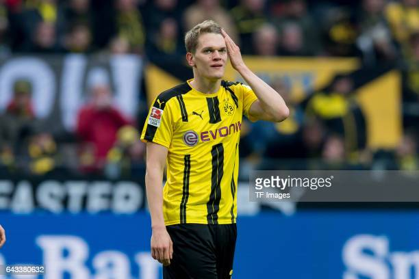 Matthias Ginter of Dortmund gestures during the Bundesliga match between Borussia Dortmund and VfL Wolfsburg at Signal Iduna Park on February 18 2017...