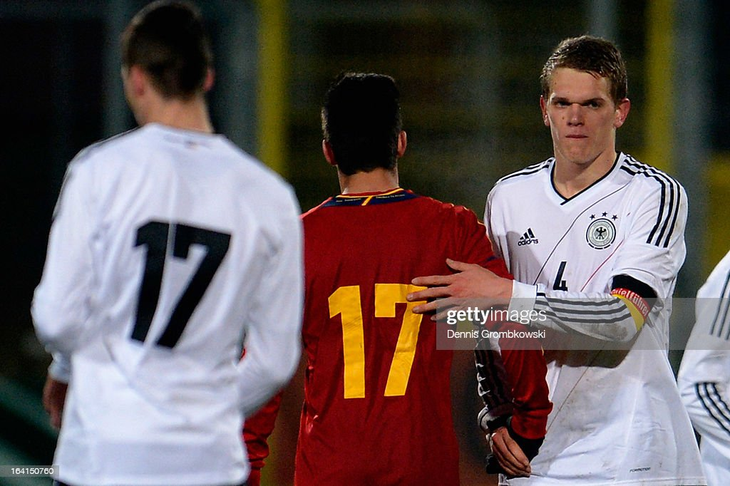Matthias Ginter of Germany and Federico Vico of Spain shake hands after the International Friendly match between U19 Germany and U19 Spain on March 20, 2013 in Duesseldorf, Germany.