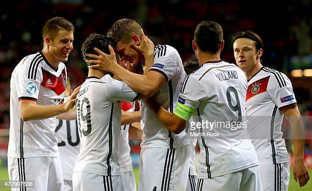 Matthias Ginter of Germany celebrate with his team mates after scoring the 3rd goal during the UEFA European Under21 Group A match between Germany...