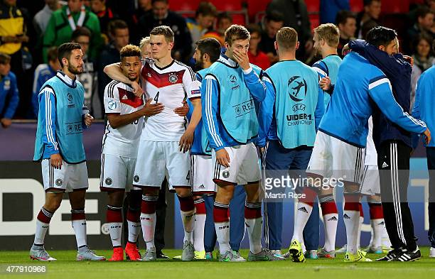 Matthias Ginter of Germany celebrate with team mate Serge Gnabry after the UEFA European Under21 Group A match between Germany and Denmark at Eden...