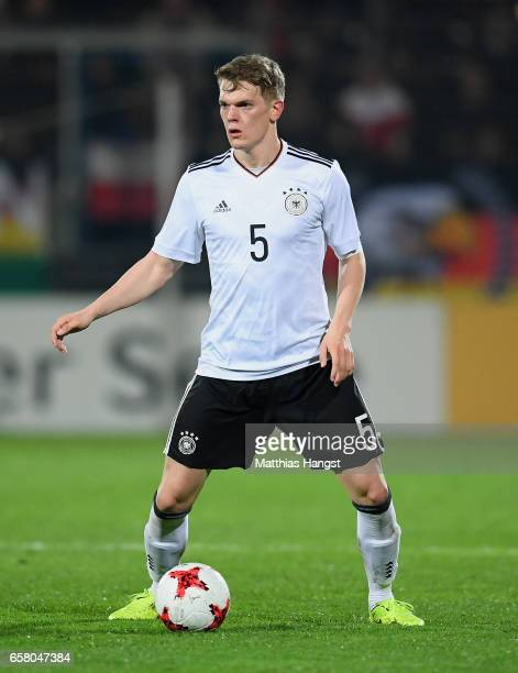 Matthias Ginter of Germany controls the ball during the U21 International Friendly match between U21 Germany and U21 England at BRITAArena on March...