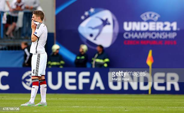 Matthias Ginter of Germany reacts after the UEFA European Under21 semi final match Between Portugal and Germany at Ander Stadium on June 27 2015 in...