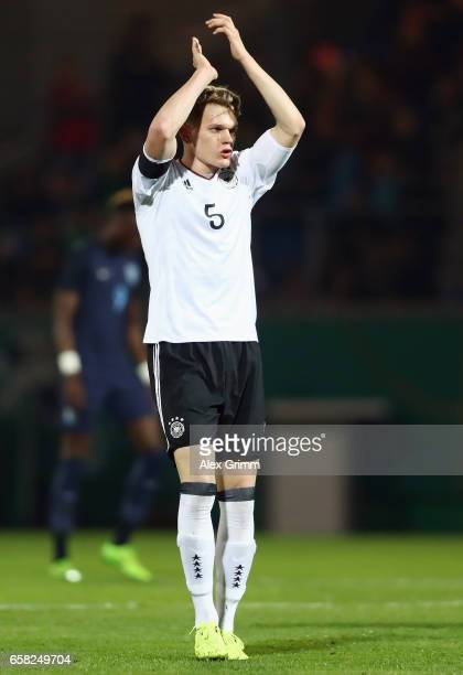Matthias Ginter of Germany reacts during the international friendly match between U21 Germany and U21 England at BRITAArena on March 24 2017 in...