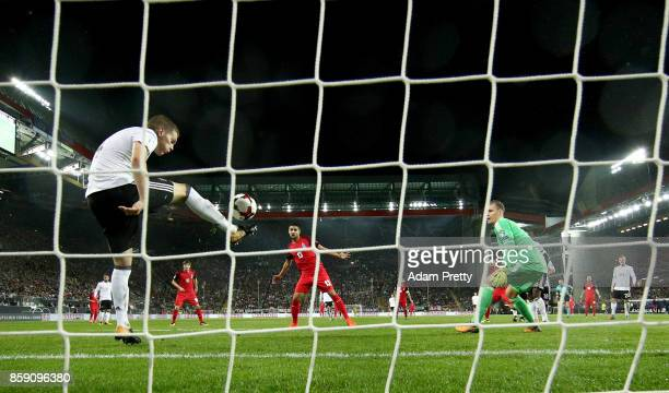 Matthias Ginter of Germany saves the ball in front of the goal during the FIFA 2018 World Cup Qualifier between Germany and Azerbaijan at...