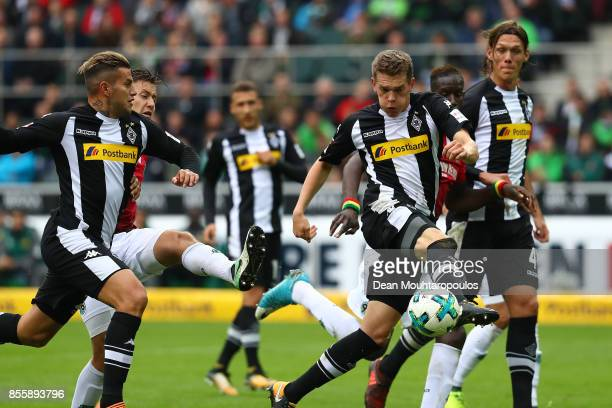 Matthias Ginter of Moenchengladbach about to score his teams first goal to make it 10 during the Bundesliga match between Borussia Moenchengladbach...