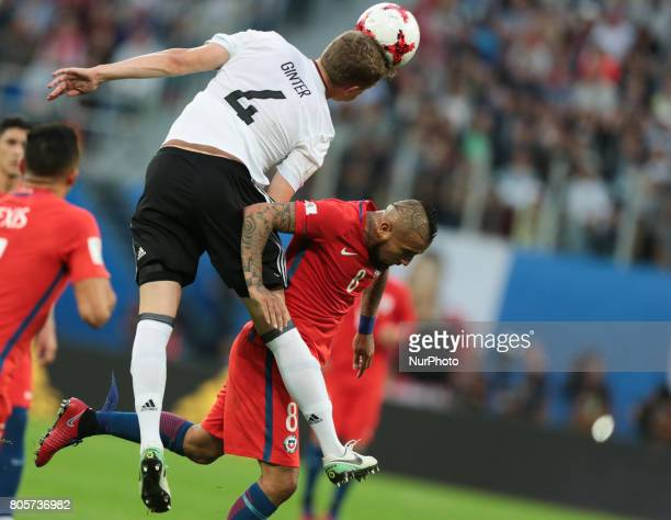 Matthias Ginter of the Germany national football team and Arturo Vidal of the Chile national football team vie for the ball during the 2017 FIFA...