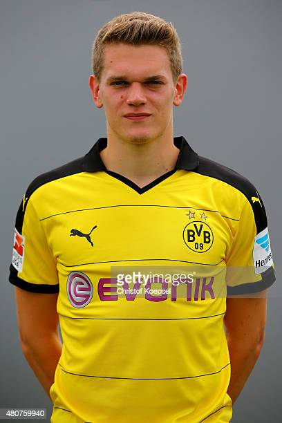 Matthias Ginter poses during the team presentation of Borussia Dortmund at Brackel training ground on July 15 2015 in Dortmund Germany