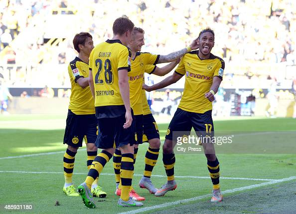 Matthias Ginter Shinji Kagawa Marco Reus and PierreEmerick Aubameyang of Borussia Dortmund celebrate after scoring the 20 durch PierreEmerick...