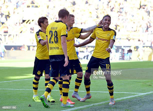Matthias Ginter Shinji Kagawa Marco Reus and PierreEmerick Aubameyang of Borussia Dortmund celebrate after scoring the 20 durch PierreEmerick...