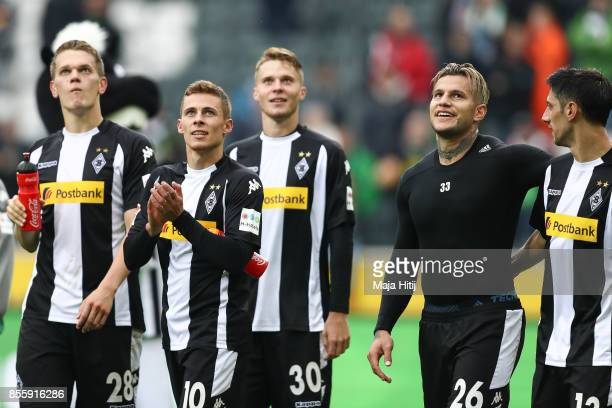 Matthias Ginter Thorgan Hazard Nico Elvedi Raul Bobadilla and Lars Stindl celebrate after the Bundesliga match between Borussia Moenchengladbach and...