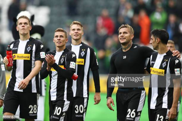 Matthias Ginter Thorgan Hazard Nico Elvedi Raul Bobadilla and Lars Stindl of Moenchengladbach celebrate after the Bundesliga match between Borussia...