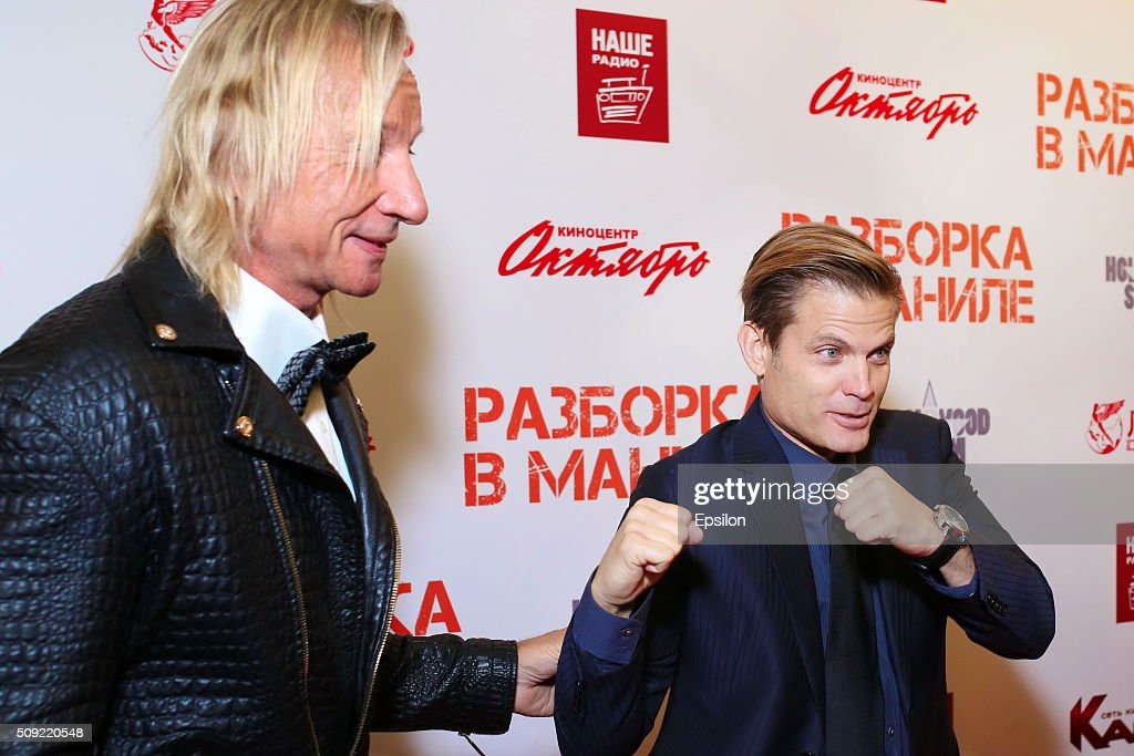 Matthias Hues and <a gi-track='captionPersonalityLinkClicked' href=/galleries/search?phrase=Casper+Van+Dien&family=editorial&specificpeople=220662 ng-click='$event.stopPropagation()'>Casper Van Dien</a>, attend 'Showdown in Manila' premiere in October cinema hall on February 9, 2016 in Moscow, Russia.