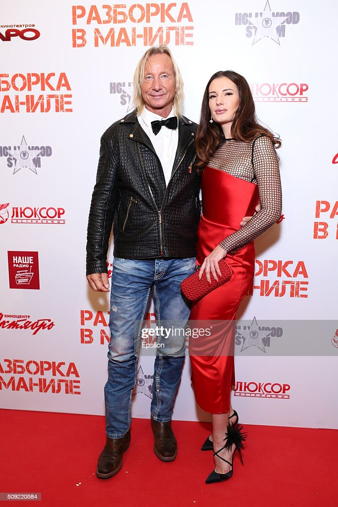 Matthias Hues, Natalya Gubina attend 'Showdown in Manila' premiere in October cinema hall on February 9, 2016 in Moscow, Russia.