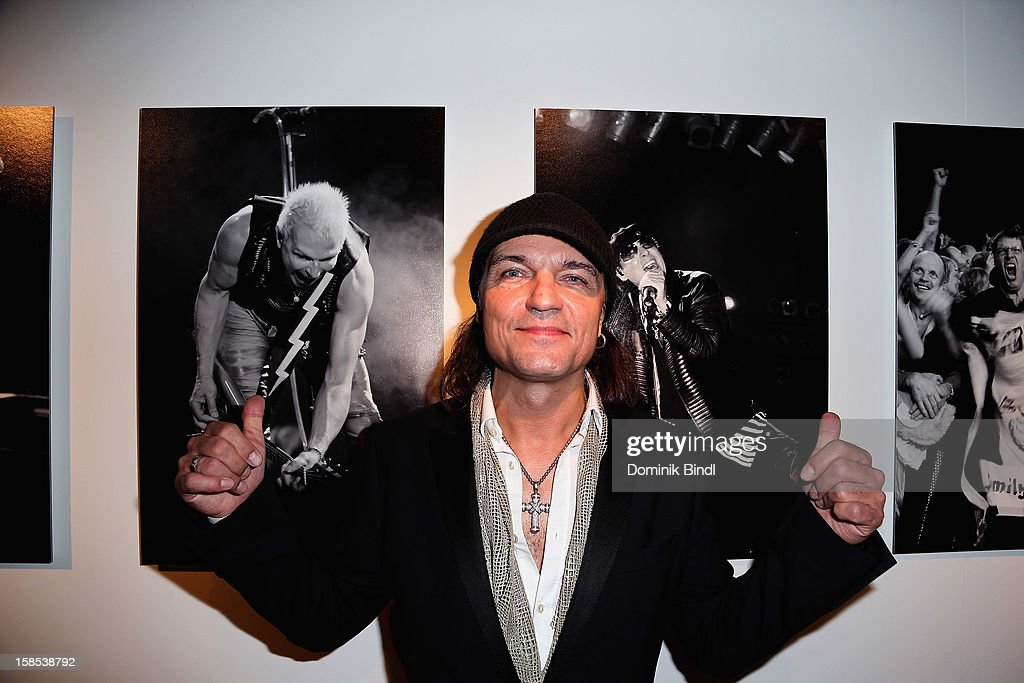 <a gi-track='captionPersonalityLinkClicked' href=/galleries/search?phrase=Matthias+Jabs&family=editorial&specificpeople=710280 ng-click='$event.stopPropagation()'>Matthias Jabs</a> attends the presentation of 'The Scorpions' by Marc Theis on December 18, 2012 in Munich, Germany.