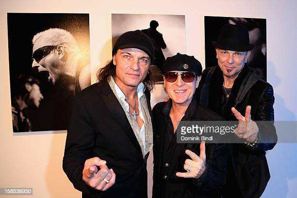 Matthias Jabs Klaus Meine and Rudolf Schenker attend the presentation of 'The Scorpions' by Marc Theis on December 18 2012 in Munich Germany