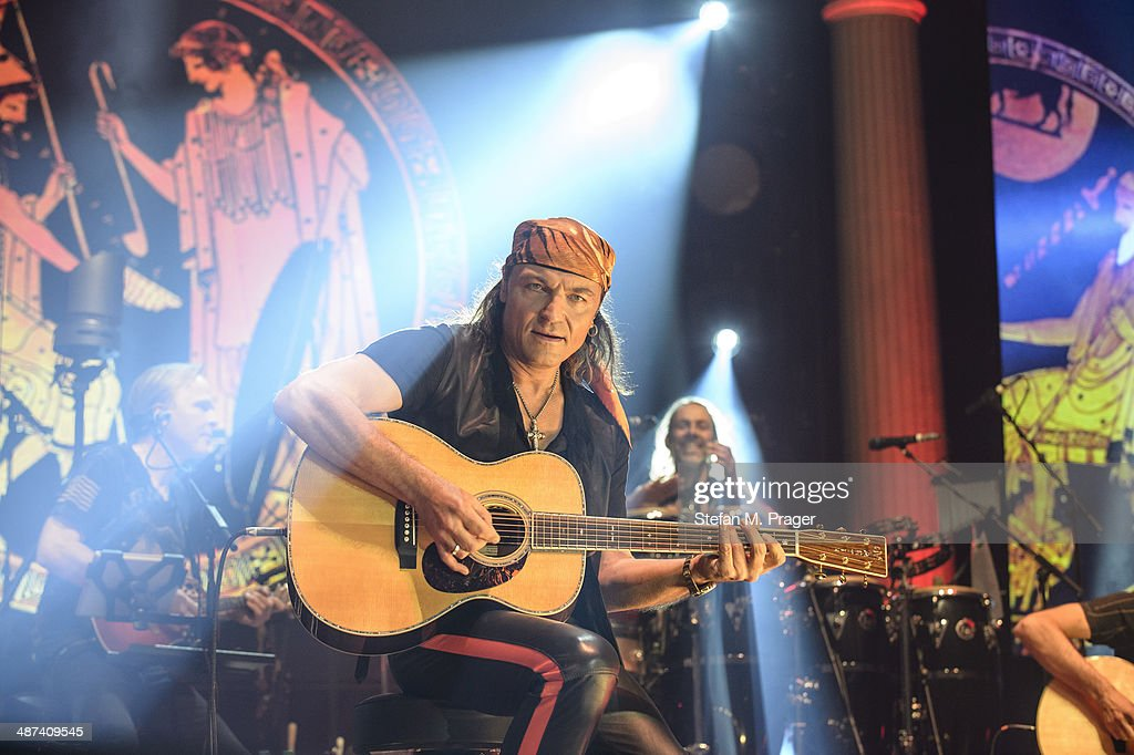 <a gi-track='captionPersonalityLinkClicked' href=/galleries/search?phrase=Matthias+Jabs&family=editorial&specificpeople=710280 ng-click='$event.stopPropagation()'>Matthias Jabs</a> of Scorpions performs on stage at Olympiahalle on April 29, 2014 in Munich, Germany.