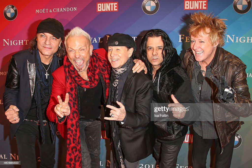 <a gi-track='captionPersonalityLinkClicked' href=/galleries/search?phrase=Matthias+Jabs&family=editorial&specificpeople=710280 ng-click='$event.stopPropagation()'>Matthias Jabs</a>, <a gi-track='captionPersonalityLinkClicked' href=/galleries/search?phrase=Rudolf+Schenker&family=editorial&specificpeople=710263 ng-click='$event.stopPropagation()'>Rudolf Schenker</a>, <a gi-track='captionPersonalityLinkClicked' href=/galleries/search?phrase=Klaus+Meine&family=editorial&specificpeople=240345 ng-click='$event.stopPropagation()'>Klaus Meine</a>, Pawel Maciwoda and James Kottak from the Band 'The Scorpions' attend the Bunte & BMW Festival Night 2015 on February 06, 2015 in Berlin, Germany.