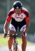 Matthias Krizek of Austria rides in the Men's Under 23 Time Trial at the 2009 UCI Road World Championships on September 23 2009 in Mendrisio...