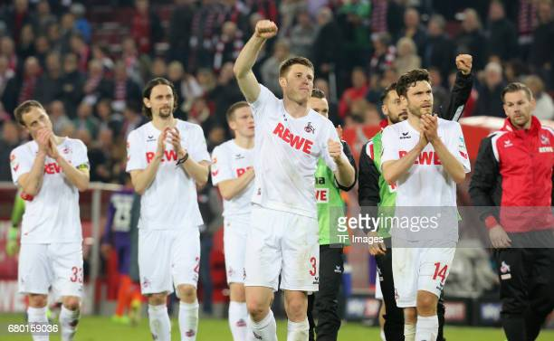 Matthias Lehmann Neven Subotic Dominique Heintz and Jonas Hector of Koeln celebrate their win during to the Bundesliga match between 1 FC Koeln and...