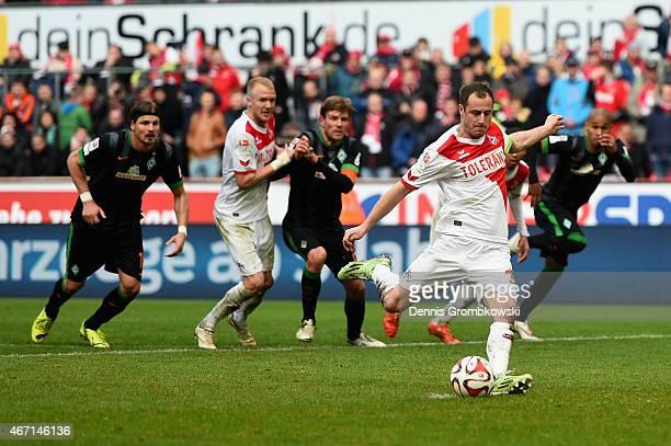Matthias Lehmann of 1 FC Koeln scores the equalizing goal during the Bundesliga match between 1 FC Koeln and SV Werder Bremen at RheinEnergieStadion...