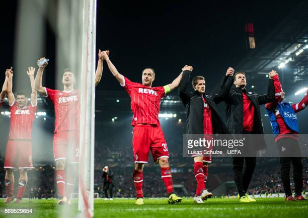 Matthias Lehmann of Koeln and team mates celebrate after winning the UEFA Europa League group H match between 1 FC Koeln and BATE Borisov at...