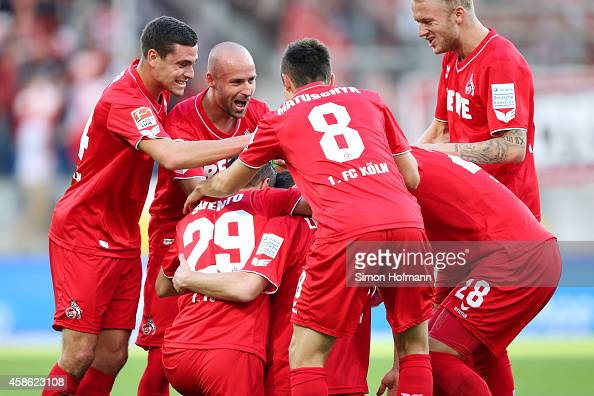 Matthias Lehmann of Koeln celebrates his team's second goal with his team mates during the Bundesliga match between 1899 Hoffenheim and 1 FC Koeln at...