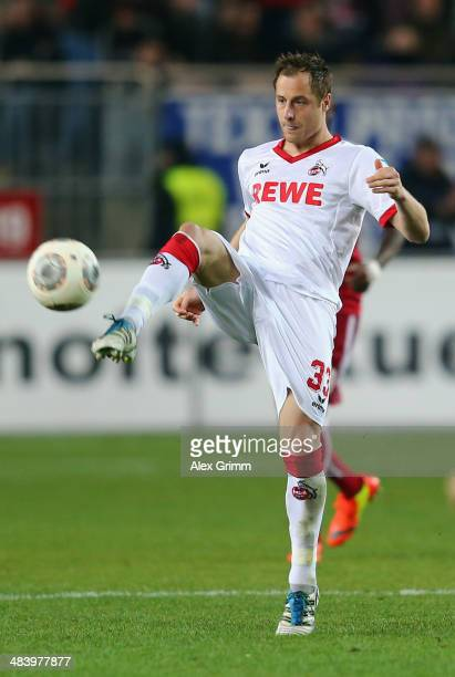 Matthias Lehmann of Koeln controles the ball during the Second Bundesliga match between 1 FC Kaiserslautern and 1 FC Koeln at FritzWalterStadion on...