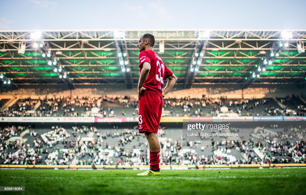 Matthias Lehmann of Koeln is disappointed after loosing the Bundesliga match between Borussia Moenchengladbach and 1. FC Koeln at Borussia-Park on August 20, 2017 in Moenchengladbach, Germany.